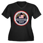 Navy Boyfriend Women's Plus Size V-Neck Dark T-Shi