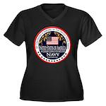 Navy Girlfriend Women's Plus Size V-Neck Dark T-Sh