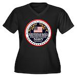 Navy Fiance Women's Plus Size V-Neck Dark T-Shirt