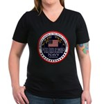 Navy Fiance Women's V-Neck Dark T-Shirt