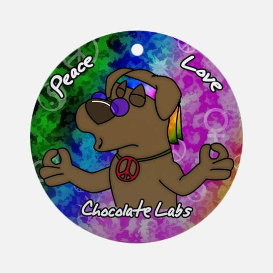 Hippie Chocolate Lab Ornament (Round)