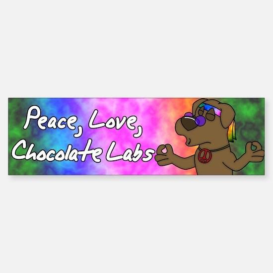 Cartoon Hippie Chocolate Lab Bumper Bumper Bumper Sticker