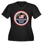 Navy Veteran Women's Plus Size V-Neck Dark T-Shirt