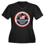 Navy Active Duty Women's Plus Size V-Neck Dark T-S