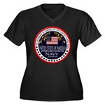 Navy Husband Women's Plus Size V-Neck Dark T-Shirt