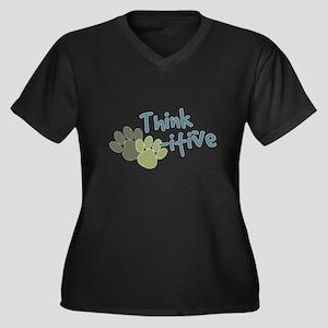 Think Paws-itive (Positive) Women's Plus Size V-Ne