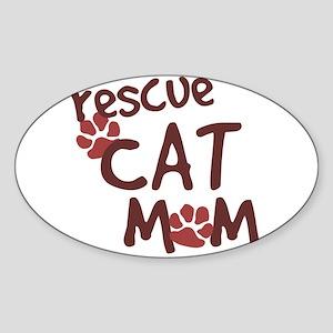 Rescue Cat Mom Oval Sticker