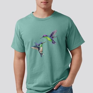 Pair of Metallic Green Blue and Purple Hummingbird