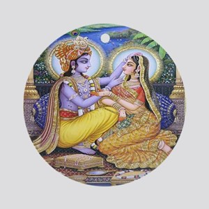 Krishna and Radha Ornament (Round)