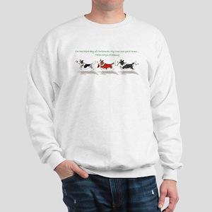 corgi xmas - 3 cardis frapping - text Sweatshirt