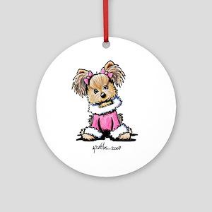 Pink Yorkie Cutie Ornament (Round)
