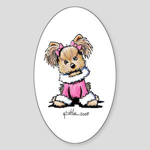 Pink Yorkie Cutie Oval Sticker (10 pk)