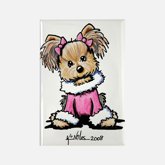 Pink Yorkie Cutie Rectangle Magnet