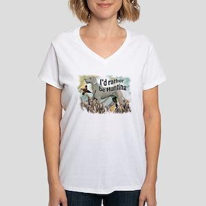 weimaraner and pheasant Women's V-Neck T-Shirt