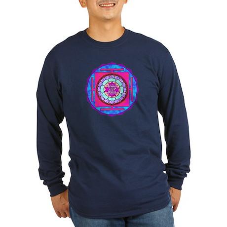 Batik Sri Yantra Long Sleeve Dark T-Shirt