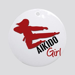 Aikido Girl Ornament (Round)
