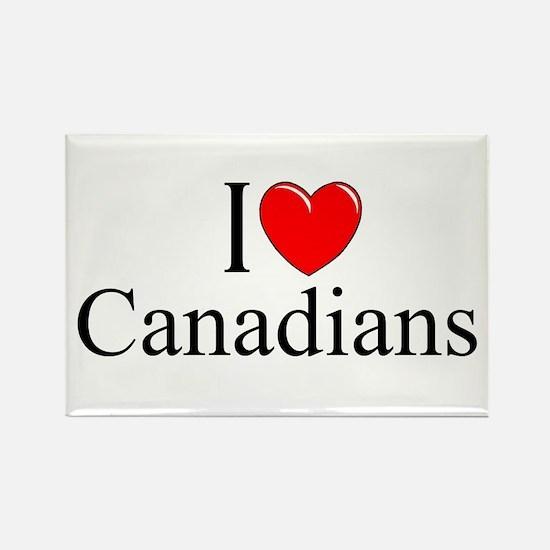 """I Love (Heart) Canadians"" Rectangle Magnet"