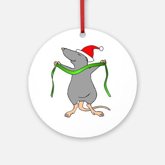 Christmas Rat Hug Ornament (Round)