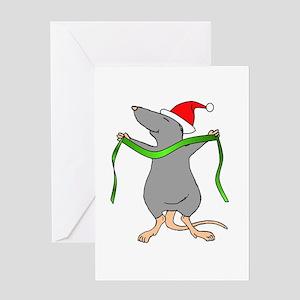 Christmas Rat Hug Greeting Card
