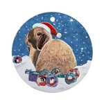 Bunny Winter Holiday Ornament (Round)