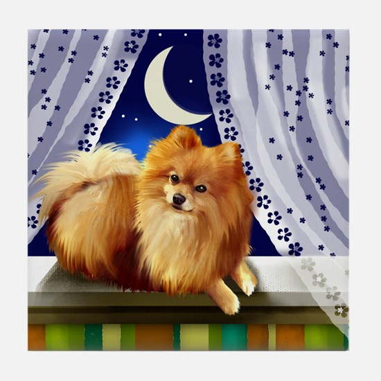 POMERANIAN DOG MOON WINDOW Tile Coaster