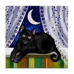 BLACK CAT MOON WINDOW Tile Coaster