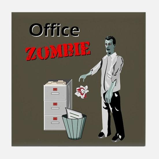 Office Zombie Tile Coaster