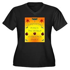 Composting Women's Plus Size V-Neck Dark T-Shirt