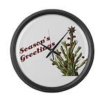 Season's Greetings - Holly Large Wall Clock
