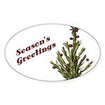 Season's Greetings - Holly Oval Sticker (10 pk)