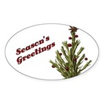 Season's Greetings - Holly Oval Sticker (50 pk)
