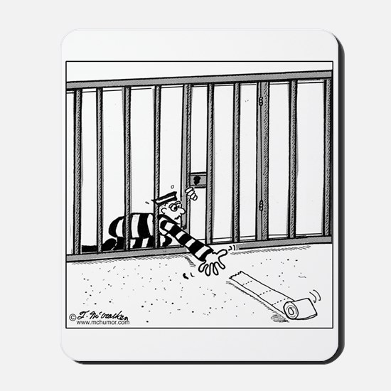 Toilet Paper Rolling Away in Prison Mousepad