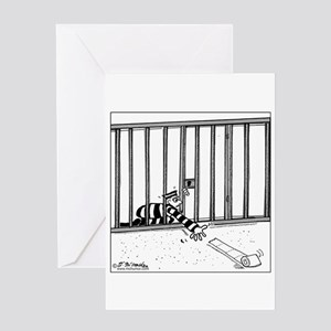 Toilet Paper Rolling Away in Prison Greeting Card