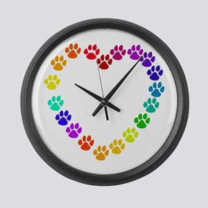 Cat Print Heart Large Wall Clock