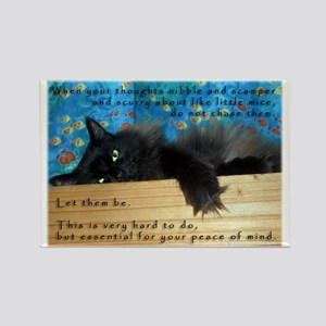 Nibbling Thoughts Black Cat Rectangle Magnet