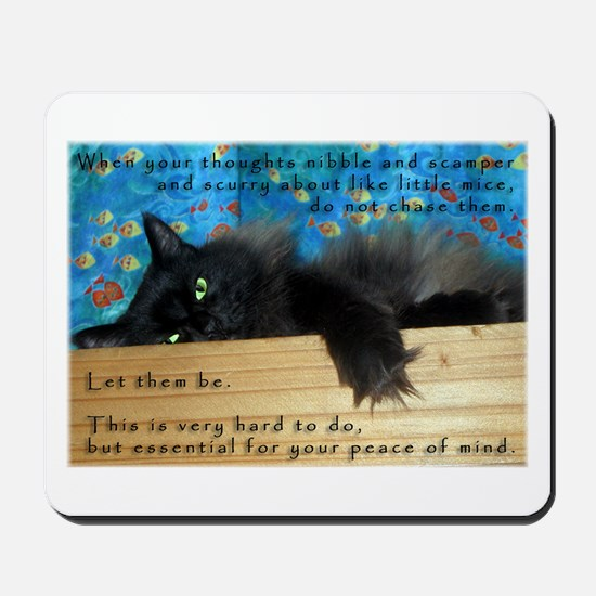 Nibbling Thoughts Black Cat Mousepad