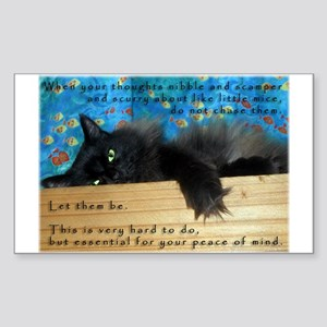 Nibbling Thoughts Black Cat Rectangle Sticker