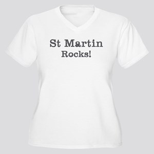 St Martin rocks Women's Plus Size V-Neck T-Shirt