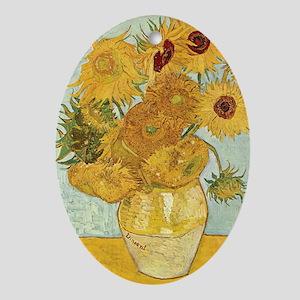 Van Gogh Sunflowers Oval Ornament