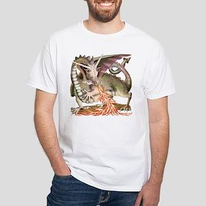 Fire Dragon White T-Shirt