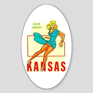 Vintage Kansas Pin-up Oval Sticker