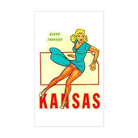 Vintage Kansas Pin-up Rectangle Sticker