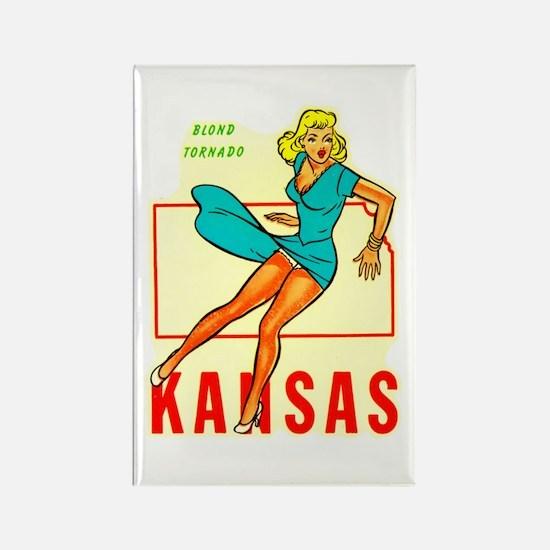 Vintage Kansas Pin-up Rectangle Magnet