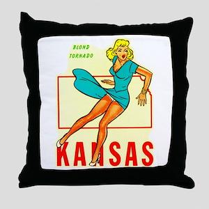 Vintage Kansas Pin-up Throw Pillow