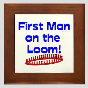 Loom Knitting Man Framed Tile