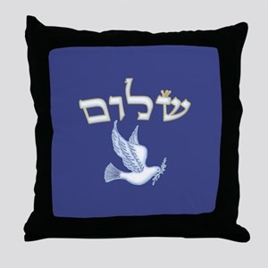 Shalom w/Dove /Bg (Hebrew) Throw Pillow
