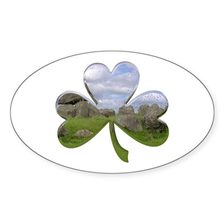 Irish Shamrock Metallic Oval Sticker