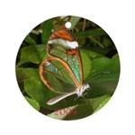 Glass Wing Butterfly Ornament (Round)