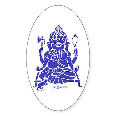 Jai Ganesh (Blue) Oval Sticker