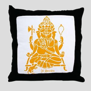 Jai Ganesh (Orange) Throw Pillow